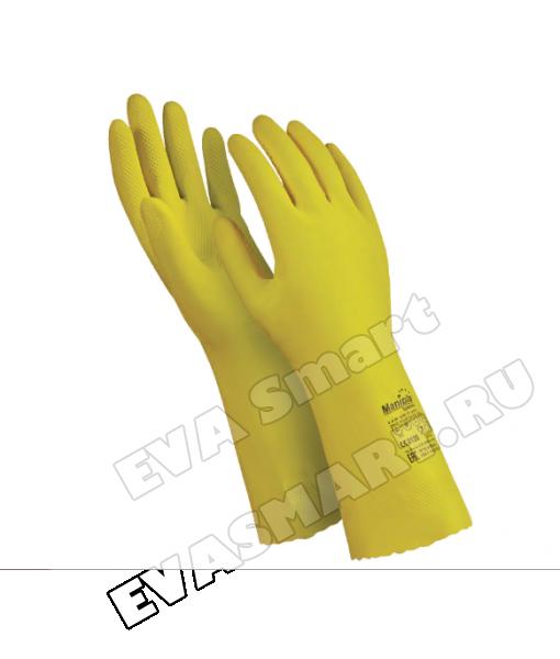 Перчатки латексные MANIPULA «Блеск», хлопчатобумажное размер 8-8,5 (M), желтые